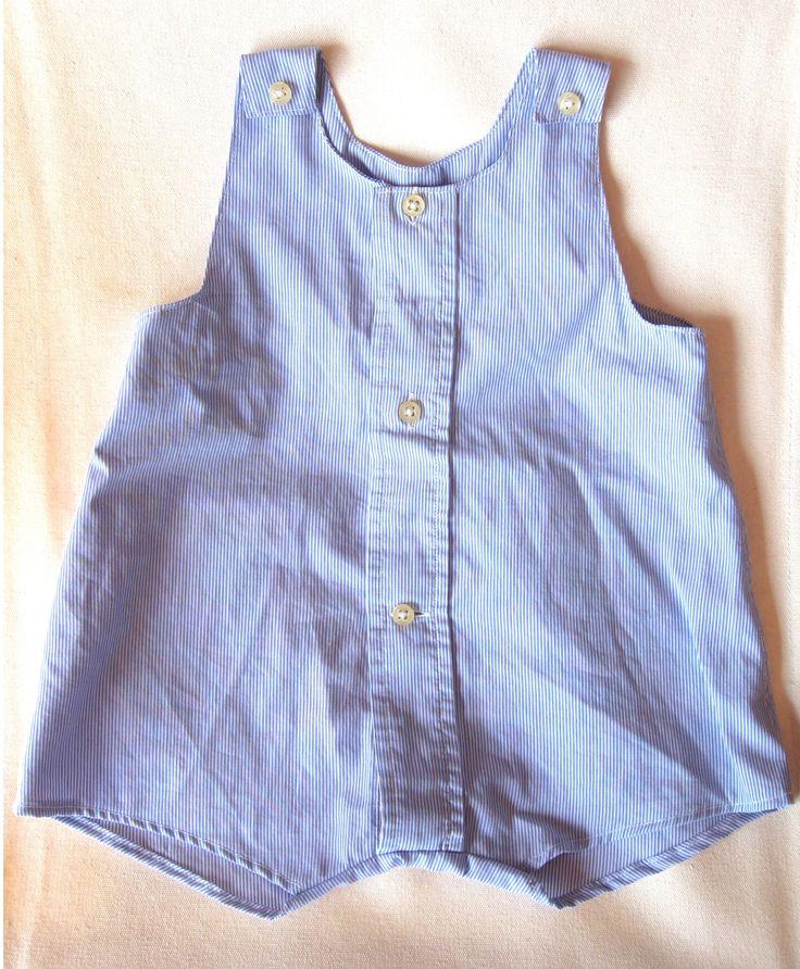 barboteuse, vêtement bébé, récup de chemise