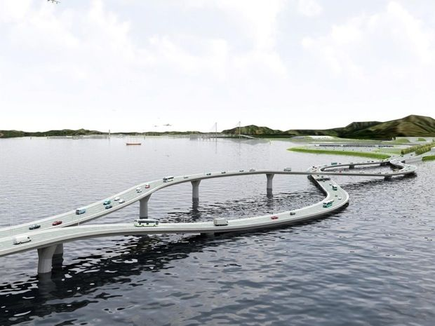 """""""Ingenious Flipper Bridge Melds Left-side Drivers with Right-side Drivers: Hong Kong drives on the left side of the road, mainland China on the right. So how do you prevent crashes when driving between them?"""" This was a very clever proposed solution. Click through for more photos and information."""