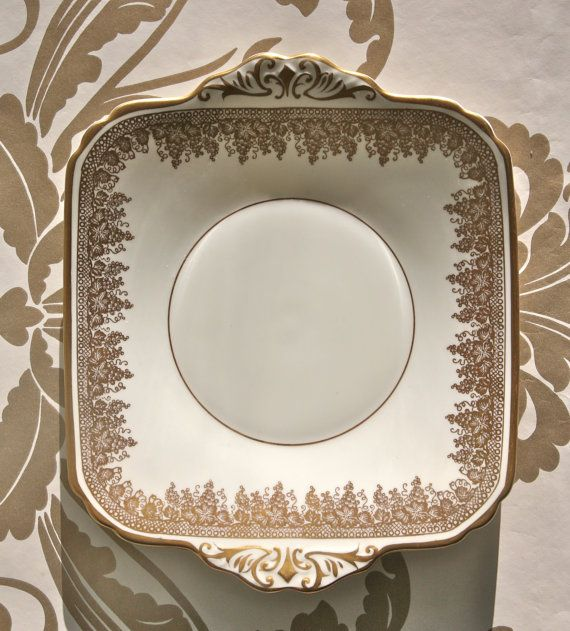 Gorgeous Cream and Gold Art Deco Plate by PavlovaandFox on Etsy, £21.50