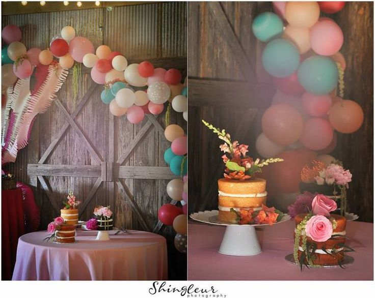 Up inspired balloon cake table backdrop, tiny naked cakes | Whimsical elopement at The Barn at Twin Oaks Ranch