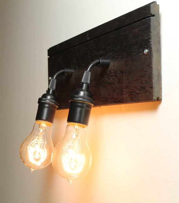 Industrial Sconce Lighting with Edison Bulbs Made From Reclaimed Hardwood Floor ($125)