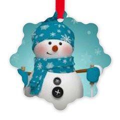 Blue Snowman Happy Holidays Snowflake Ornament