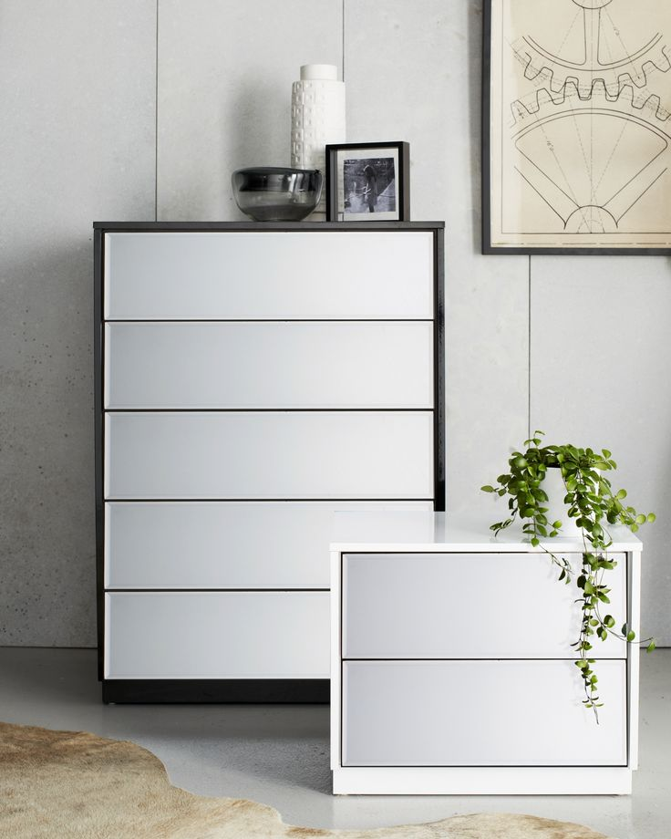 The Louvre Mirrored Bedside Table and Tallboy will make a statement in any room - available in black and white.
