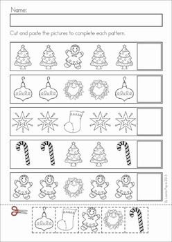 Christmas Math & Literacy Worksheets & Activities for Kindergarten. Lots of fun, interactive, no-prep pages for December. A page from the unit: Christmas patterns cut and paste