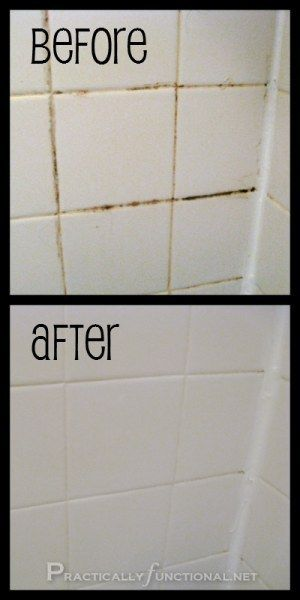 Banish grout mold with some bleach, baking soda and elbow grease. | 29 Hacks For The Frugal Clean Freak
