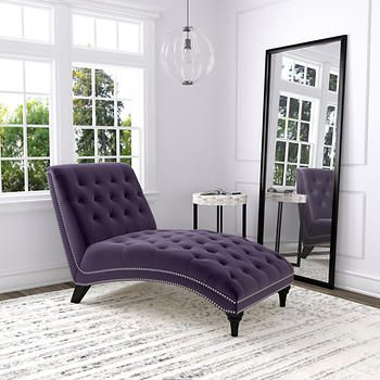 "Ursula Fabric Chaise Lounge - Purple  (Seat is 18.5""H , 36""W)"