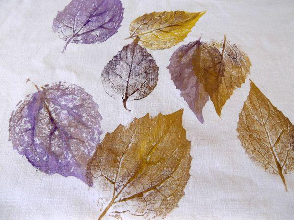τέχνη με φύλλα, ζωγραφική με φύλλα, τέχνη με φυσικά υλικά, αποτύπωμα φύλλων, ζωγραφική στο ύφασμα