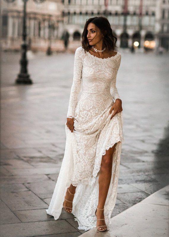 Boho Wedding Dress, Boat Neck Wedding Dress, Scoop Back Wedding Dress, Lace Long Sleeves, Long Sleeve Wedding Dress – Jade Dress