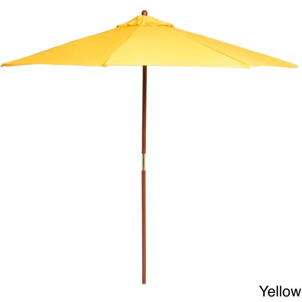 Lauren U0026 Company Premium 9 Foot Round Wood Patio Umbrella (Yellow) (135