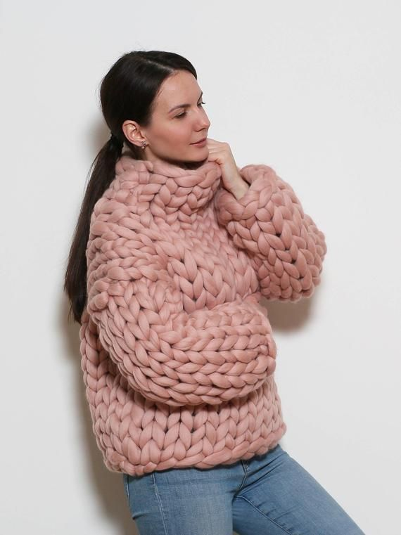 Roze Oversized Trui.Pastel Pink Chunky Knit Sweater Turtleneck In Size S Oversized