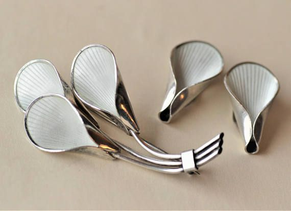J Tostrup Norway.  Mid-Century Modernist Sterling Silver