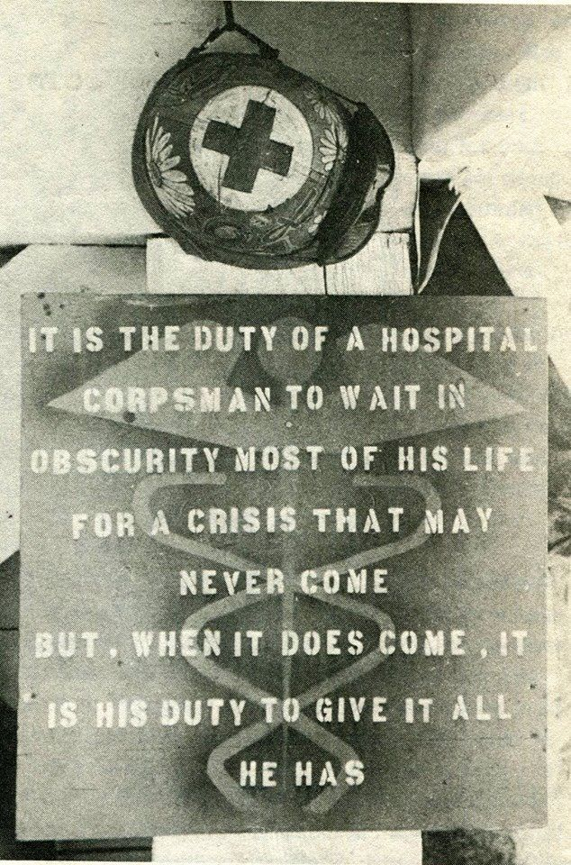 True story of the life of a Hospital Corpsman. No greater honor no better job!