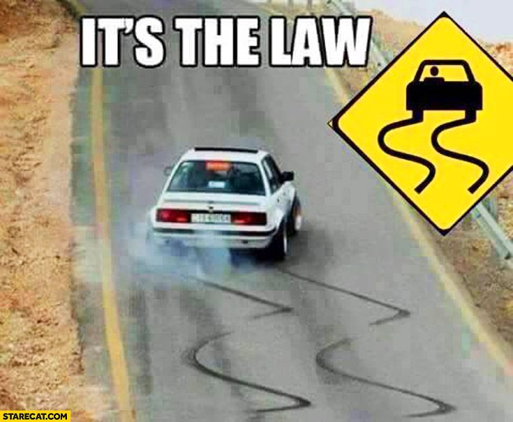 BMW drifting skid marks it's a law sign