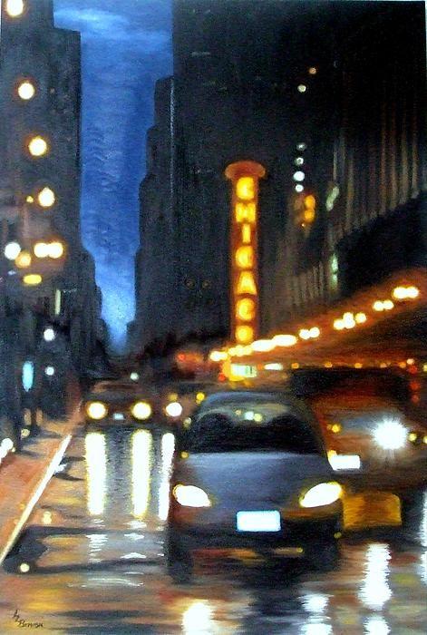 Rainy City Night Painting  - Rainy City Night Fine Art Print