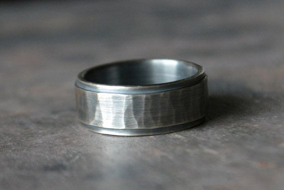 Sterling Silver Men's Wedding Band Hammered Texture with Smooth Rail Detailing ~The Rugged Gent~ Sterling Silver