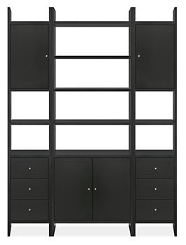 addison shelving units and storage units give the look of builtin book shelves and give you a wall of storage for your living room furniture
