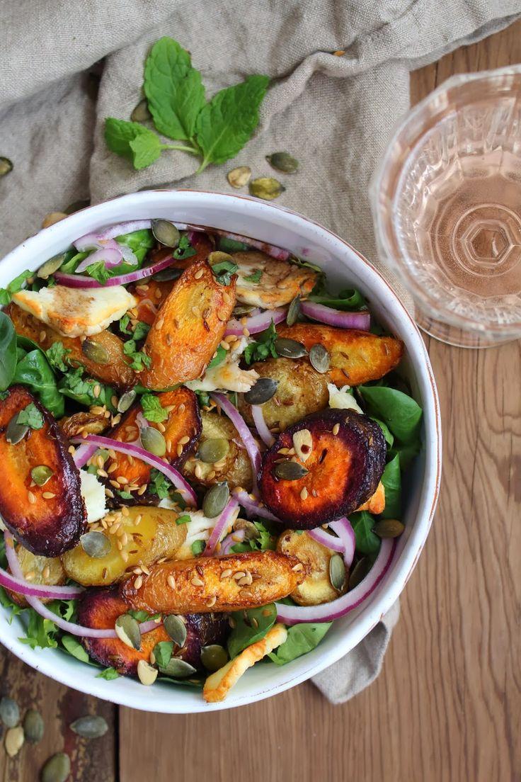 roasted cumin carrot and halloumi salad