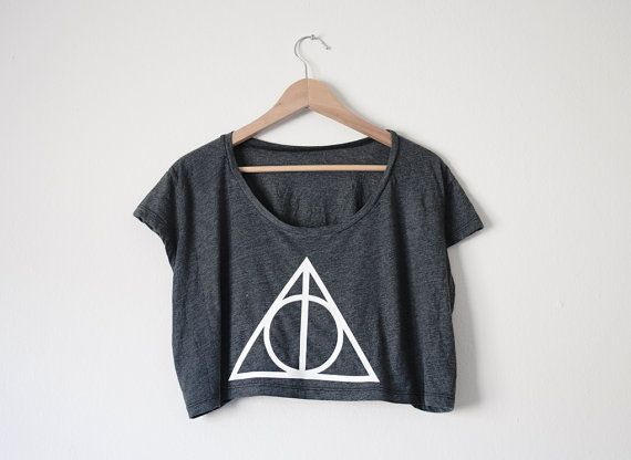 Deathly Hallows Crop Top in Almost Black by SoEffingCute on Etsy, $28.00