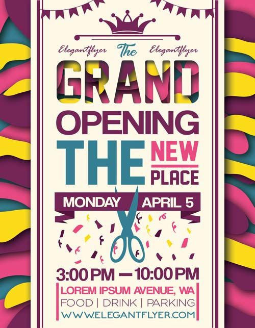 Grand Opening Party Event Free Flyer Template - http://freepsdflyer.com/grand-opening-party-event-free-flyer-template/ Enjoy downloading the Grand Opening Party Event Free Flyer Template created by Elegantflyer!   #Dance, #Dj, #Elegant, #Evente, #Grand, #Music, #Opening, #Party, #Special