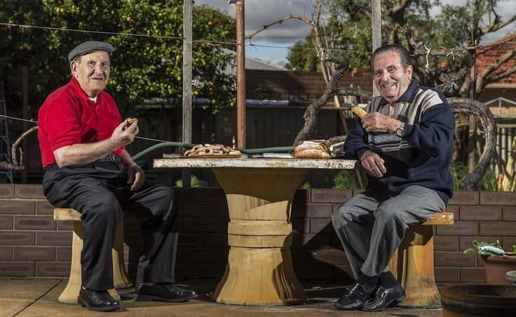 Long-time friends Michele Millimaci and Mario Celani enjoy Italian sweets and a catch-up.