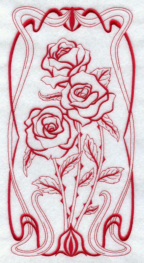Art Nouveau Rose (Redwork)