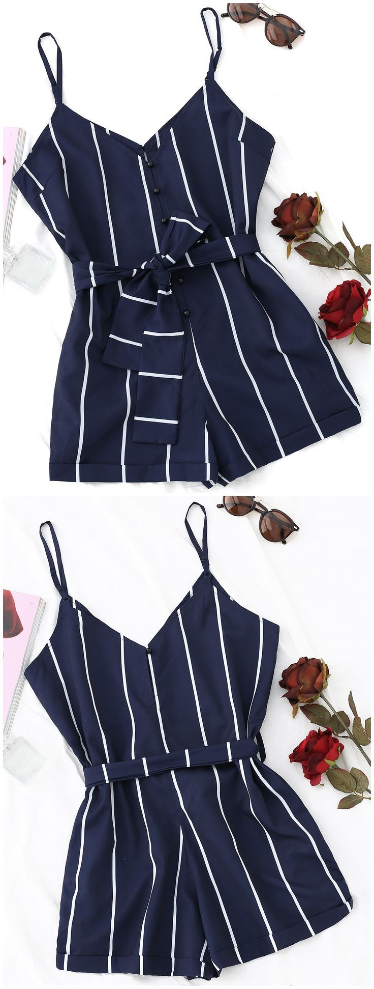 Up to 80% OFF! Striped Belted Cami Romper. #Zaful #Jumpsuits #Romper zaful,zaful outfits,zaful dresses,spring outfits,summer dresses,Valentine's Day,valentines day ideas,valentines outfits,cute,casual,classy,fashion,style,bottoms,shorts,jumpsuits,rompers,playsuits,playsuit outfit,dressy jumpsuits,playsuits two piece,two piece outfits,two piece dresses,dresses,printed dresses,sundresses,long sleeve dresses,mini dresses,maxi dresses,lace dress,bohemian dresses @zaful Extra 10% OFF Code:ZF2017