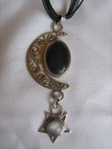 Moon and star pendant with blue tigers eye and moonstone.
