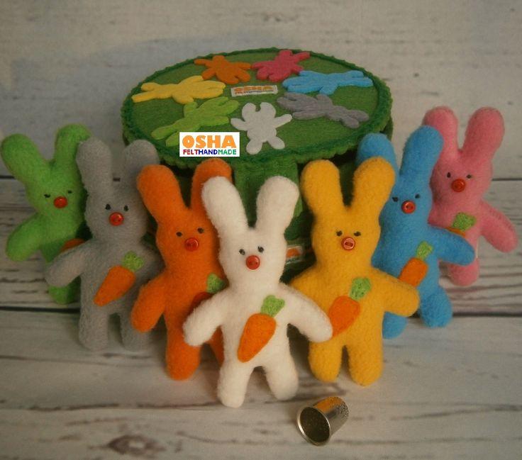 Set 7 Rainbow baby Rabbits in Box Mini pocket Bunny with