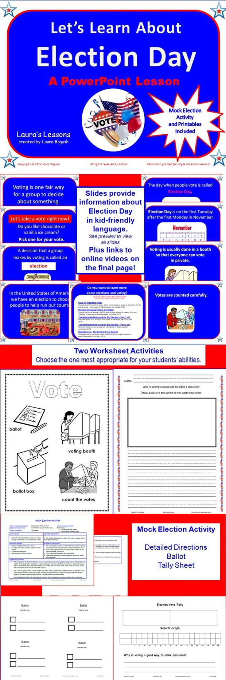 Ready to use!  Election Day PowerPoint Lesson for K, 1st, or 2nd graders. Animations and age-appropriate information keep young students engaged. Includes worksheets and links to 5 online videos. $