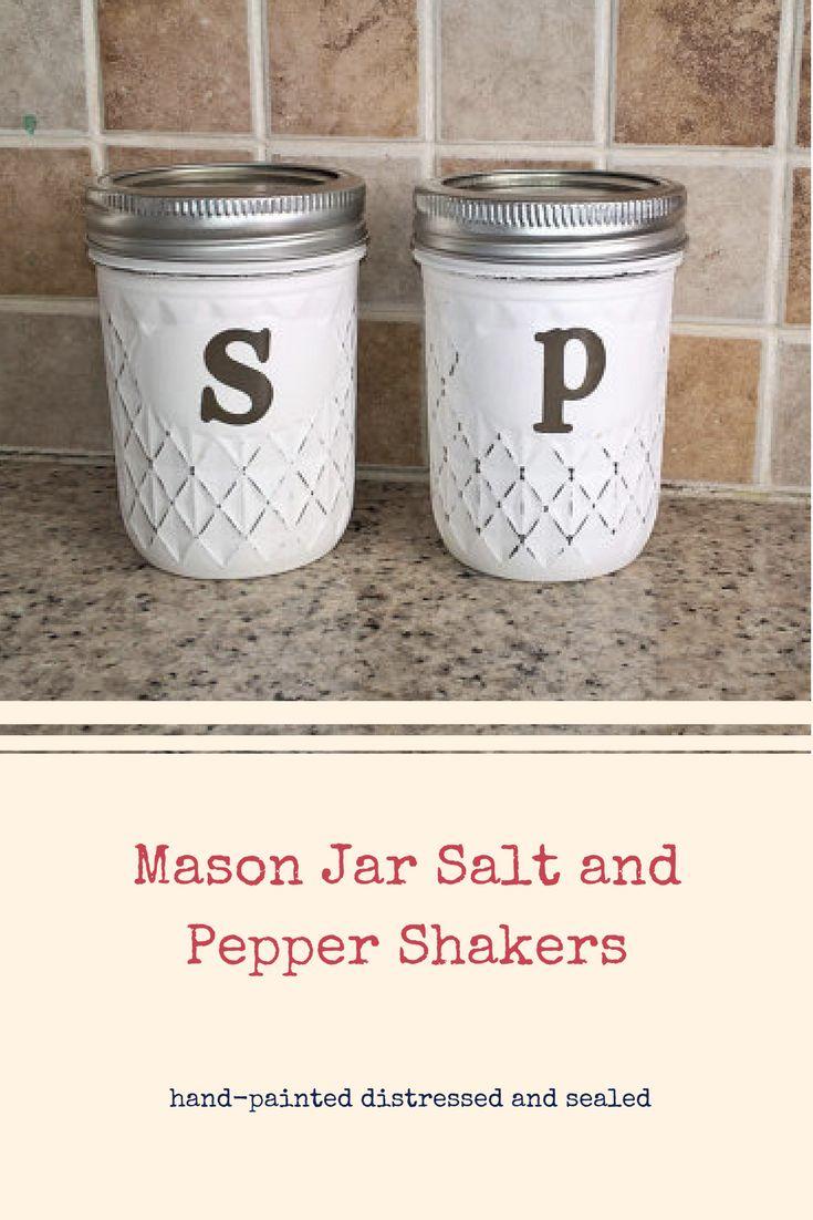 Mason Jar Salt and Pepper Shakers-Rustic Southern Kitchen Decor-Farmhouse Decor-Primitive-Housewarming-Wedding Shower-Country Dining Decor #ad #farmhouse #saltandpepper #masonjars