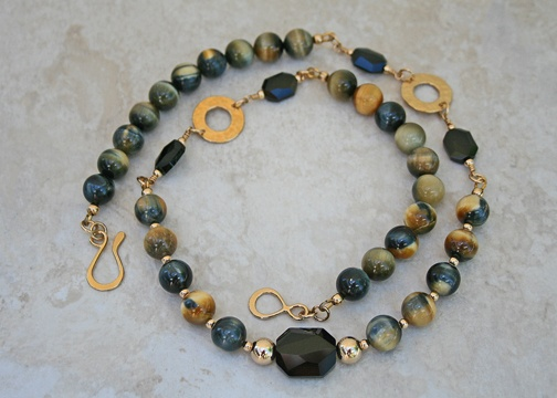 Golden Tiger Eye 14K Gold Necklace