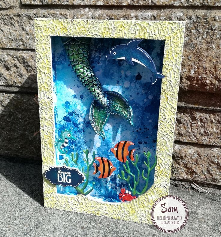 Seascape Book Box by Sam Lewis AKA The Crippled Crafter. Featuring Daisy's Jewels and Crafts.  http://www.thecrippledcrafter.co.uk/2017/06/picture-frame-book-box-daisys.html?m=1 #thecrippledcrafter #hochanda #daisysjewelsandcrafts #pebeo #spectrumnoir #spectrumaqua #clay #mermaid #alteredart