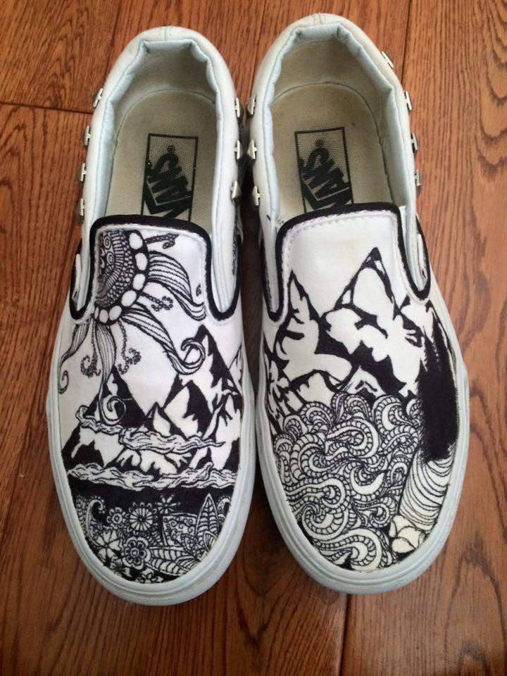 Outdoor shoes vans sharpie drawing adventure outdoor
