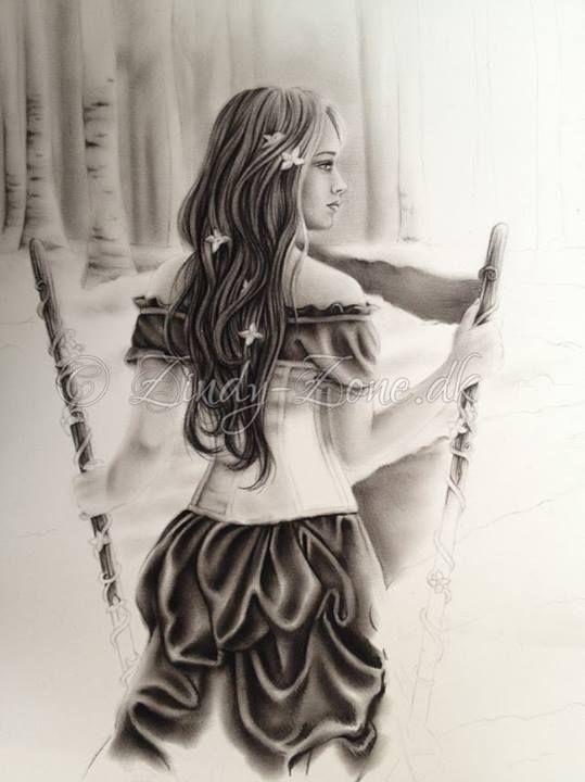 #WIP #2ofWands #TwoOfWands #ZindyNielson #78Tarot #SeventyEightTarot #Drawing #sketch #shading #woman #wands #illustration #art #artwork #artist #charcoal #drawing #blending #forest #gown https://www.facebook.com/ZindyArt