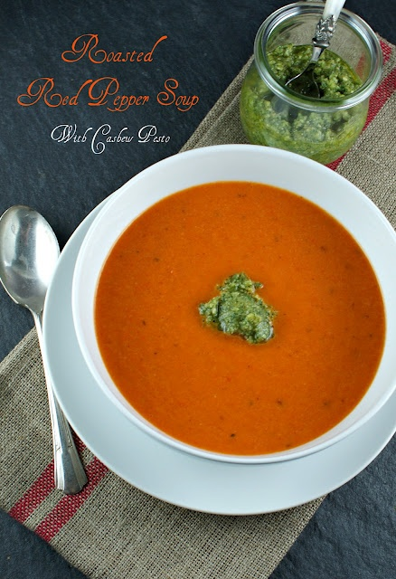 Roasted Red Pepper Soup with Cashew Pesto  @Lisa |Authentic Suburban GourmetSuburban Gourmet, Foodies Fav, Secret Recipe, Recipe Club, Red Peppers Soup, Chicken Stockings, Authentic Suburban, Cashew Pesto, Roasted Red Peppers