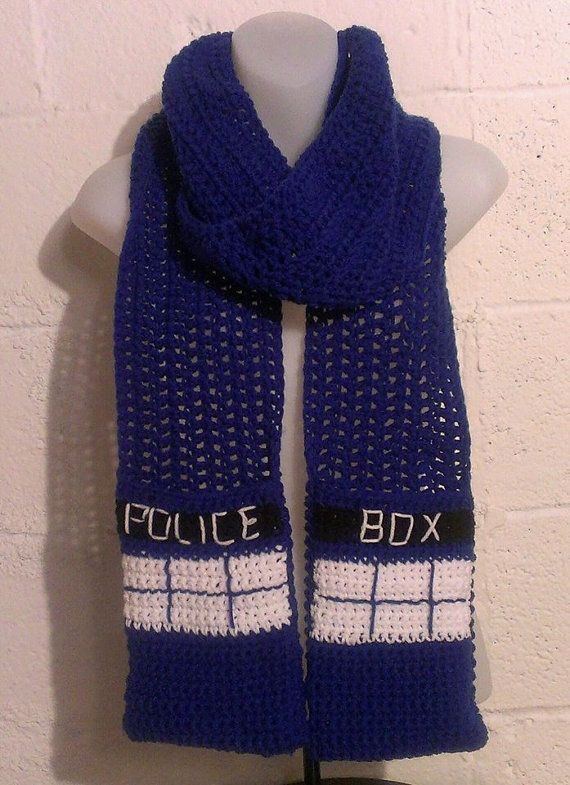 Tardis Scarf by UnraveledCrafter on Etsy