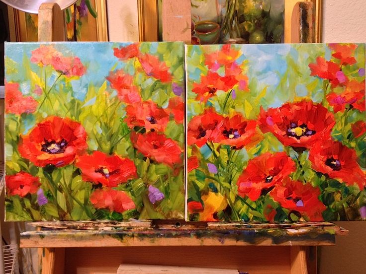 Tuscan Poppy is the newest small work in the studio, as AnnieBee snores on her pillow by the easel. Description from nancymedinaart.com. I searched for this on bing.com/images