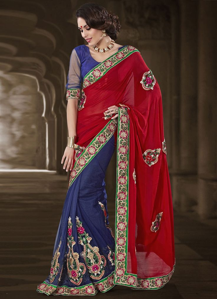 Attractive Red And Blue Appliqued Half And Half Saree