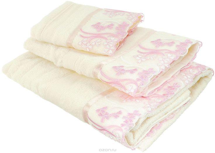 """Набор хлопковых полотенец Home Textile """"Нежность"""", цвет: кремовый, розовый, 3 шт - купить по выгодной цене с доставкой. Домашний текстиль от Home Textile в интернет-магазине OZON.ru"""