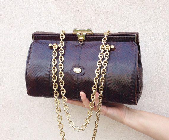 leather doctor bag / Vintage 80s genuine snake skin by Skomoroki