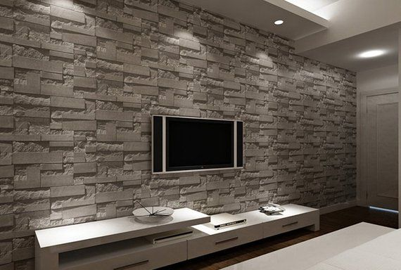 Gray Brick Wallpaper Yellow Brick Print Wallpaper 10m Paper Roll Wallpaper 3d Mural Paper Wall Decal 3d Effect Wallpaper Tapete Grau Steintapete Mauerabdeckung