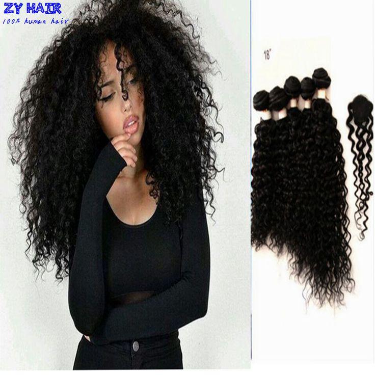 Brizilian巻き毛で閉鎖毛ブラジルバージン5ピースロットで閉鎖クイーンズ髪製品閉鎖が付いている毛