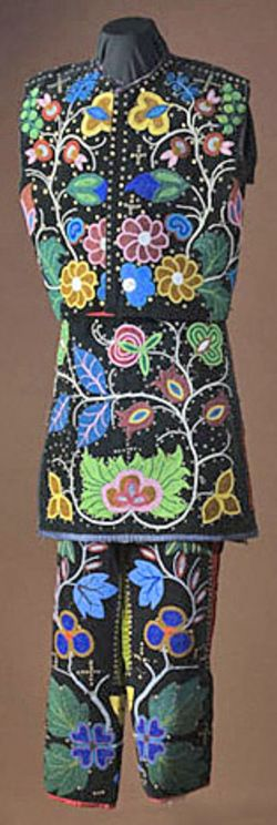 Clothing; Chippewa, Dance Costume, Beaded, Floral Design, 44 inch.