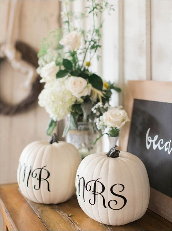 Mr. and Mrs. Pumpkins for a Fall Wedding - 17 Homemade Wedding Decorations for Couples on a Budget - EverAfterGuide