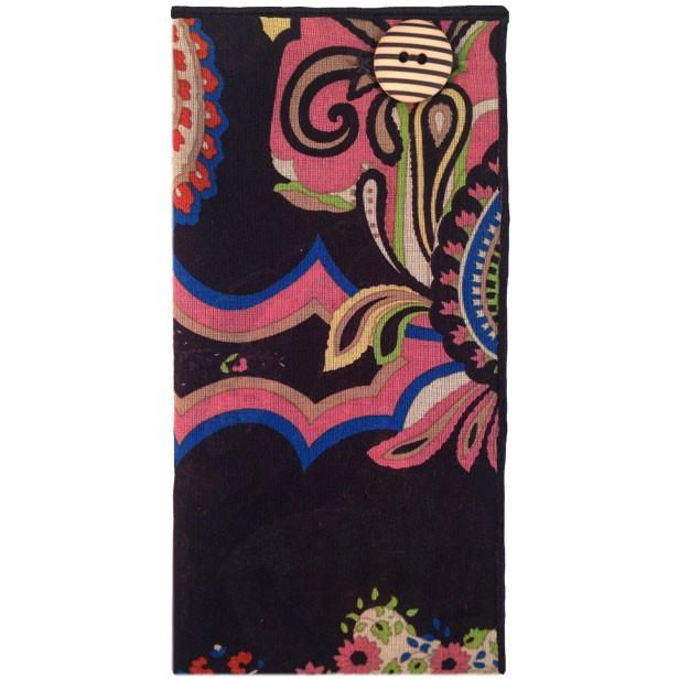 Black and Multicolored Paisley Print Pocket Square with Striped Button – The Detailed Male