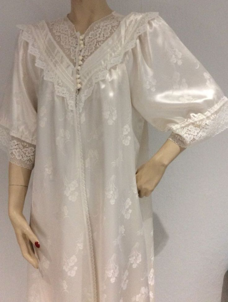 VTG HOUSE OF FRASER LACE WHITE PEIGNOIR NIGHTGOWN DRESSING GOWN BRIDAL EDWARDIAN  | eBay