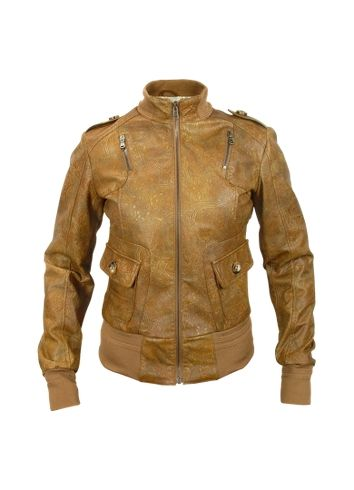 Forzieri Signature - Women's Brown Paisley Stamped Genuine Leather Jacket