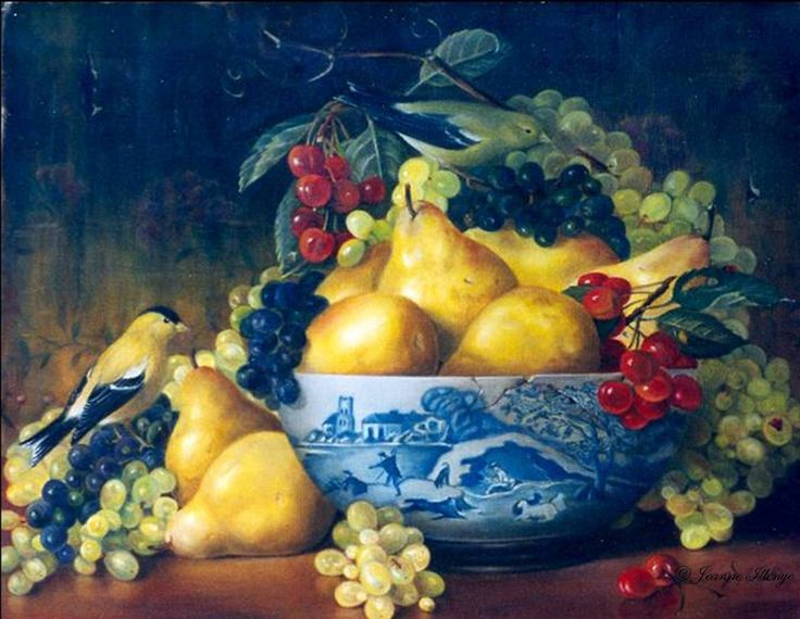 Jeanne Illenye (b.1953) —   American Goldfinches, Pears, Grapes and Cherries in Cracked Spode Blue Italian Bowl (1500x1163)