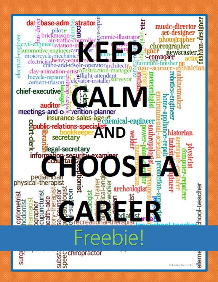 Keep Calm and Choose a #Career FREE poster goes great with Georgia's College and Career Readiness lessons and 5th Grade Career Portfolio Project.