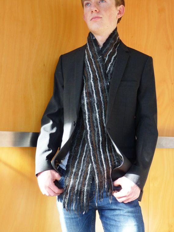 Men's scarf felted wool natural designer clothing by FilzFineFelt